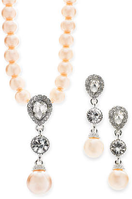 "Charter Club Silver-Tone Crystal and Imitation Pearl Pendant Necklace & Drop Earrings Set, 17"" + 2"" extender, Created for Macy's"