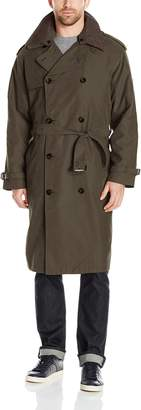 London Fog Men's Double Breasted Belted Iconic Trench Coat, with Zip Out Liner