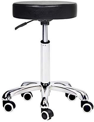 Grace & Grace Height Adjustable Rolling Swivel Stool Chair with Round Seat Heavy Duty Metal Base for Salon