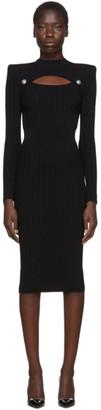 Balmain Black Rib Knit Cut-Out Dress