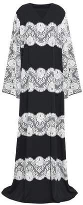 Dolce & Gabbana Lace-Paneled Silk-Blend Crepe De Chine Wrap Gown