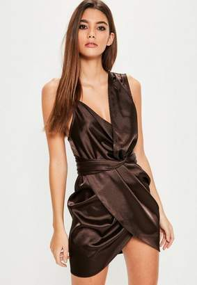Missguided Brown Satin Knot Front Asymmetric Dress