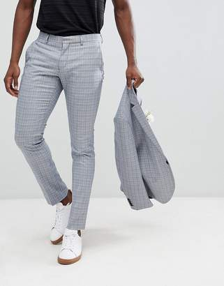 Skinny Fit Suit Trousers In Check