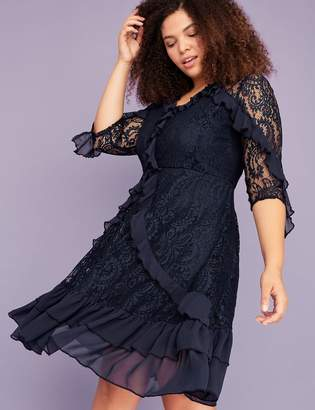 Lane Bryant Ruffle & Lace Fit & Flare Dress