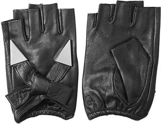 Karl Lagerfeld Fingerless Leather Gloves with Embellishment