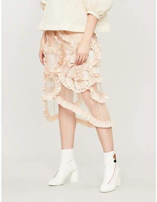 Simone Rocha Moncler Genius x high-waist ruffled tulle midi skirt