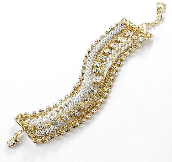 Vera Wang Simply vera gold tone simulated crystal multistrand bracelet
