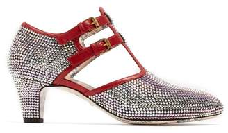 Gucci Crystal Embellished Leather Pumps - Womens - Silver