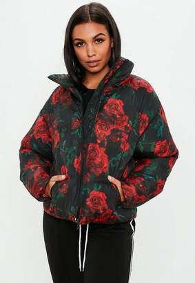 Missguided Black Rose Print Puffer Jacket