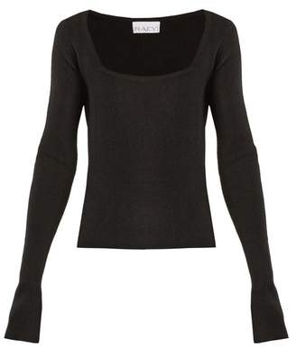Raey - Square Neck Ribbed Cashmere Sweater - Womens - Black