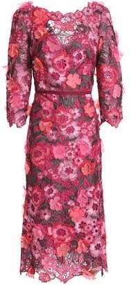 Marchesa Floral-Appliquéd Metallic Guipure Lace Midi Dress