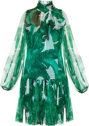 DOLCE & GABBANA Banana leaf-print tie-neck chiffon dress $2,264 thestylecure.com