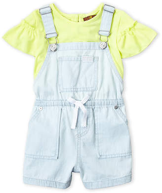 7 For All Mankind Toddler Girls) Two-Piece Flutter Tee & Denim Overalls Set