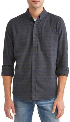 COMO MAN Men's Long Sleeve Heathered Flannel Woven Shirt