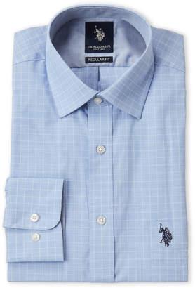 U.S. Polo Assn. Blue Windowpane Regular Fit Dress Shirt