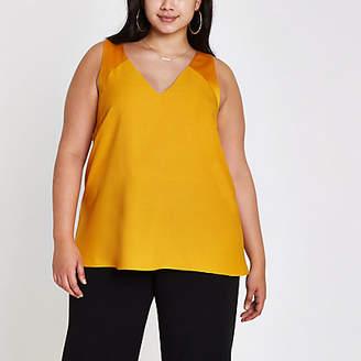 River Island Plus orange V neck sleeveless bar back top