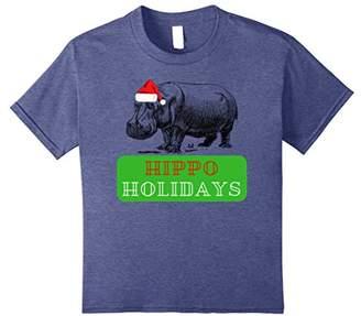 Hippo Christmas: Hippo Holidays Santa Hat T-Shirt