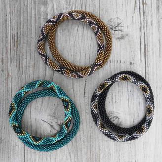 Aura Que Fair Trade Handmade Glass Bead Tube Bracelet Set