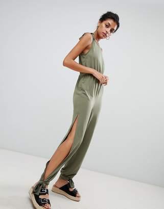 Asos Design Tie Detail Split Side Beach Jersey Jumpsuit