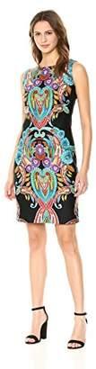 Nicole Miller Studio Women's Sleeveless Placement Print Sheath Dress