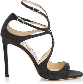 Jimmy Choo LANG Black Fine Glitter Leather Sandals