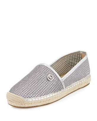 MICHAEL Michael Kors Kendrick Perforated Sparkly Espadrille Flat, Silver $89 thestylecure.com