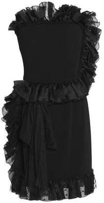Dolce & Gabbana Strapless Ruffle-Trimmed Crepe Mini Dress