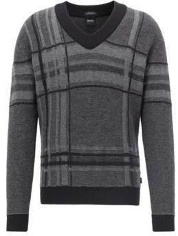 BOSS Hugo V-neck sweater in knitted large-scale check XXL Black