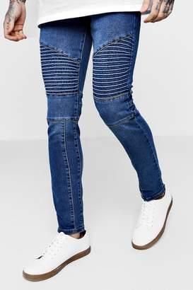 boohoo Skinny Fit Panelled Biker Jeans