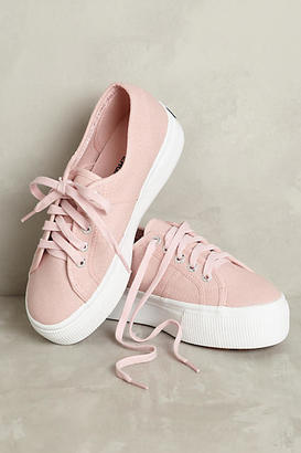 Superga Pink Canvas Platform Sneakers $78 thestylecure.com