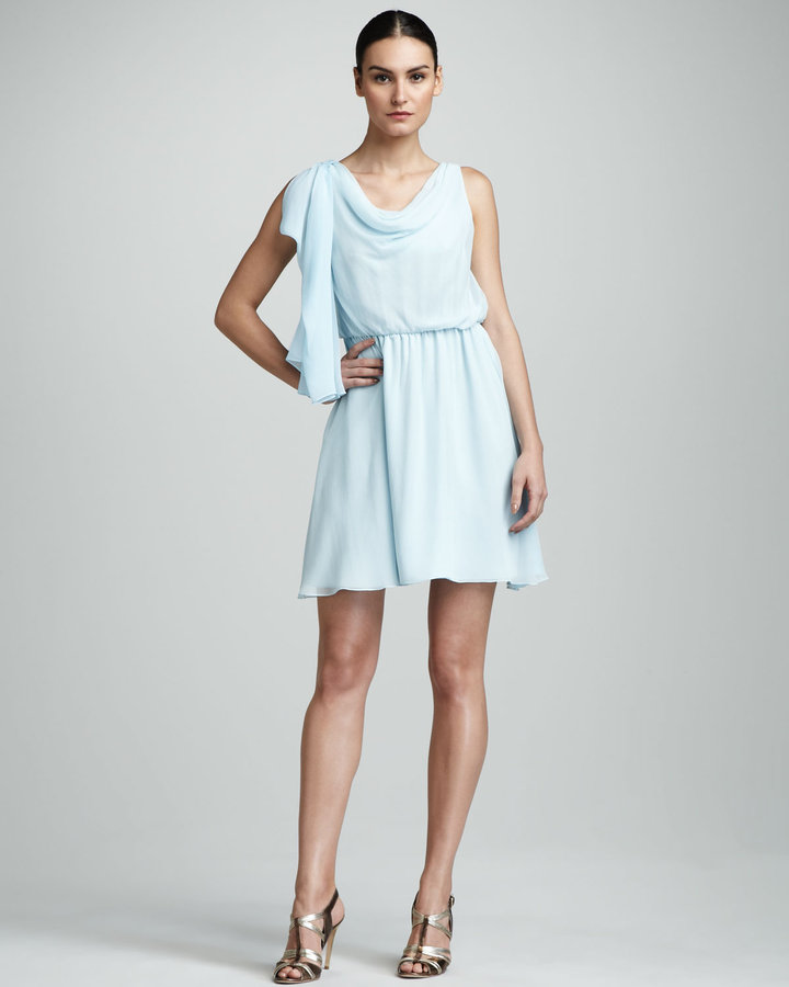 Alice + Olivia Perry Draped Silk Dress