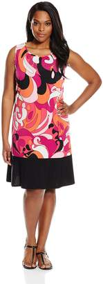 MSK Women's Plus-Size Sleeveless Printed Flounce Hem Dress, Pink/Orange
