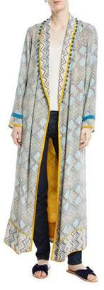 Talitha Collection Print Robe Coat with Rope Belt & Pompom Trim