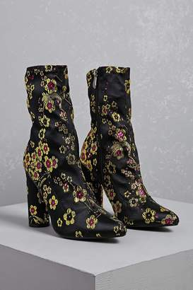 Forever 21 Floral Embroidered Boots
