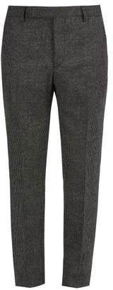 Saint Laurent Slim Leg Checked Wool Trousers - Mens - Grey