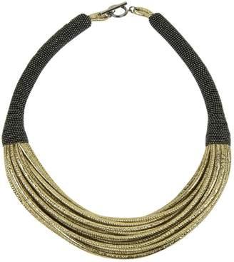 Brunello Cucinelli Gold Leather Necklace