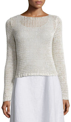 Eileen Fisher Long-Sleeve Crisp Cotton Crop Top $173 thestylecure.com