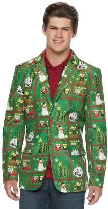 Men's Christmas Patchwork Pattern Blazer