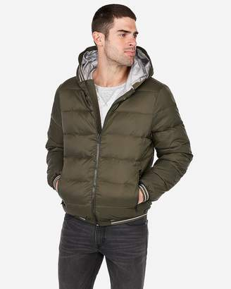 Express Solid Hooded Water-Resistant Puffer Jacket
