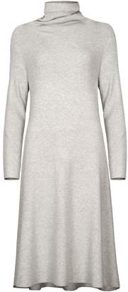 PAISIE - Light Grey Turtleneck A-Line Knitted Dress