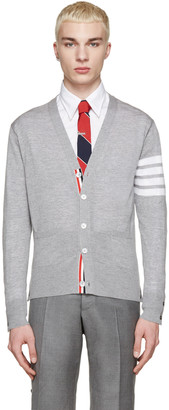 Thom Browne Grey Wool Striped Armband Cardigan $955 thestylecure.com