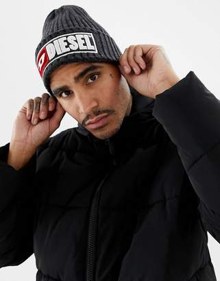 Diesel knitted beanie hat with embroidered logo