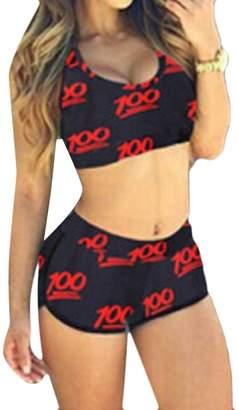 Pandapang Women's Low Cut Yoga Print Outfit Set Pcs Bathing Suit Bikini Set XL