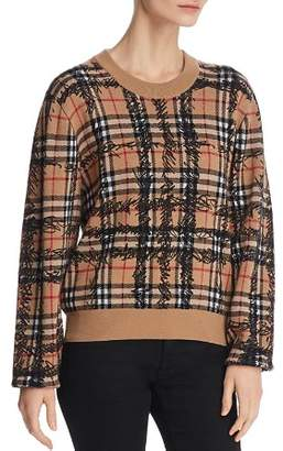 Burberry Scribble Logo-Check Wool Sweater