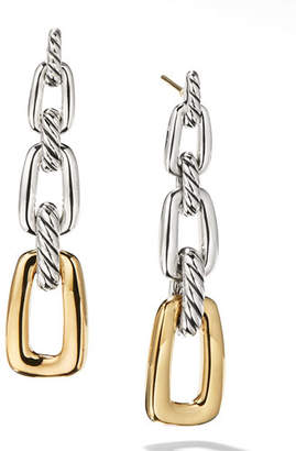 David Yurman Wellesley Silver 3-Link Drop Earrings w/ 18k Gold