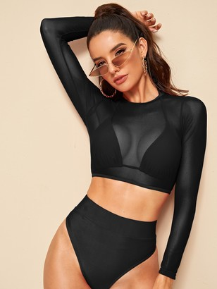 Shein High Waist Bikini Set & Sheer Mesh Top 3pack