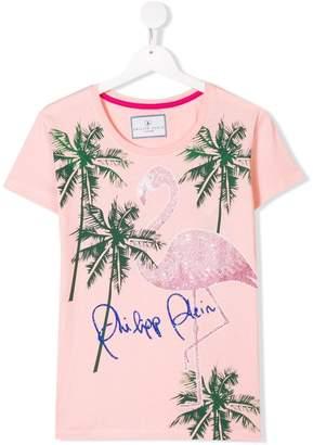 Philipp Plein Junior flamingo and palm tree print T-shirt