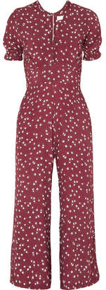 Faithfull The Brand Bonnie Floral-print Crepe Jumpsuit - Claret