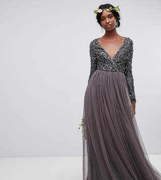 Maya Tall long sleeve wrap front maxi dress with delicate sequin and tulle skirt in charcoal