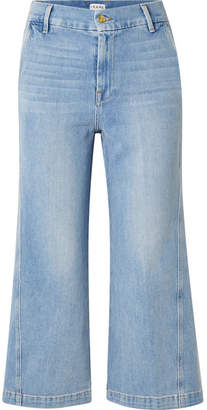 Frame Twisted Cropped High-rise Wide-leg Jeans - Light denim